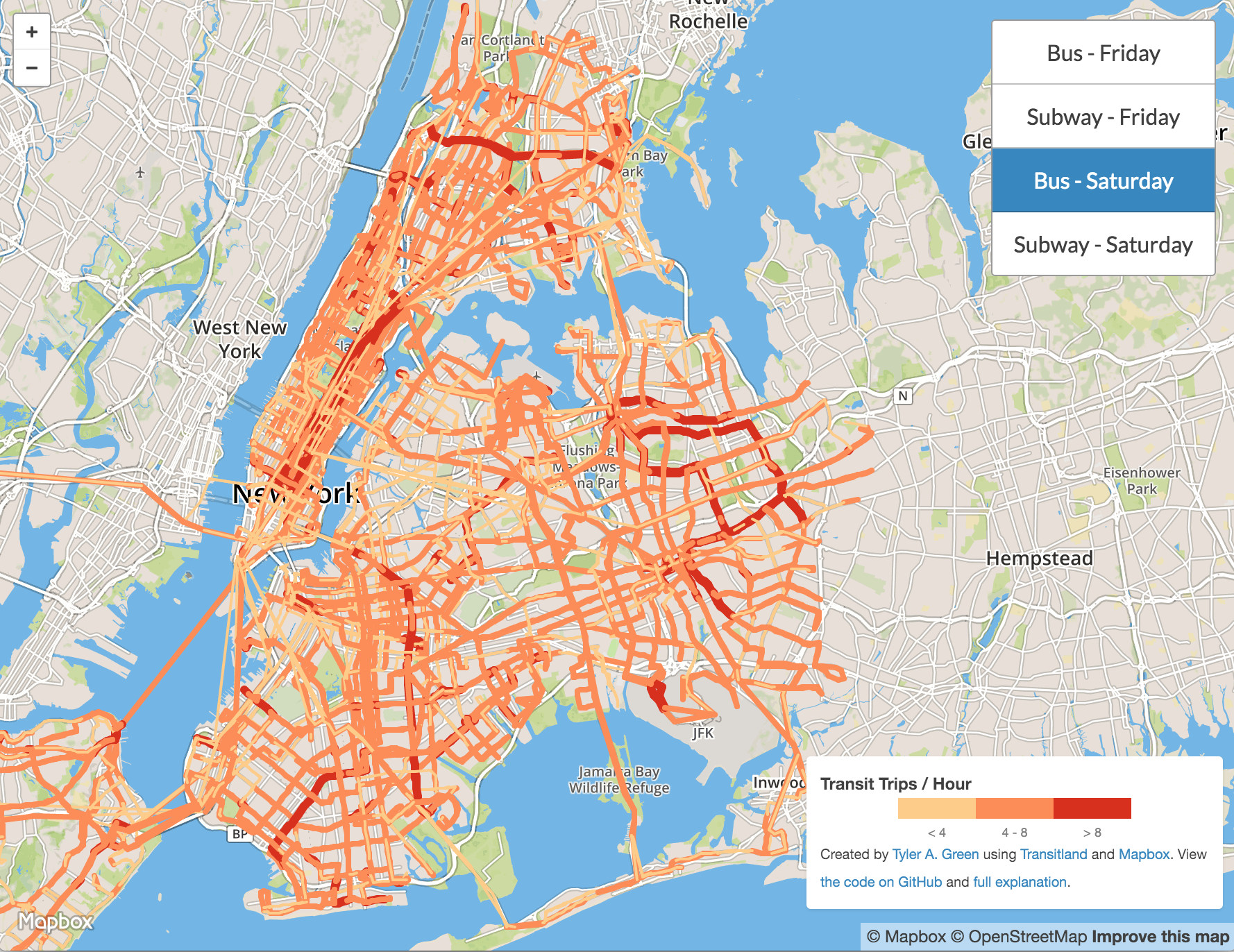 Made Using Transitland An Interactive Visualization Of New York - Nyc map interactive