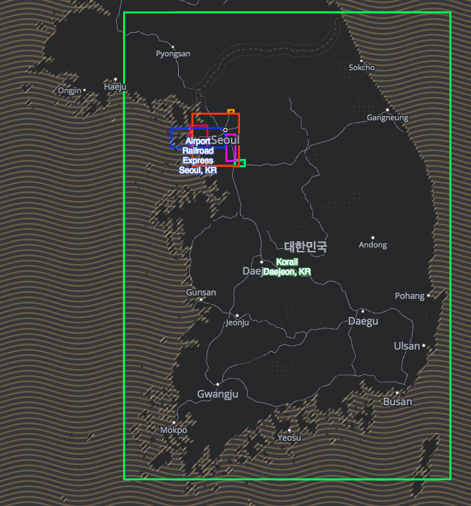 map of operator service bounding boxes displayed on South Korea