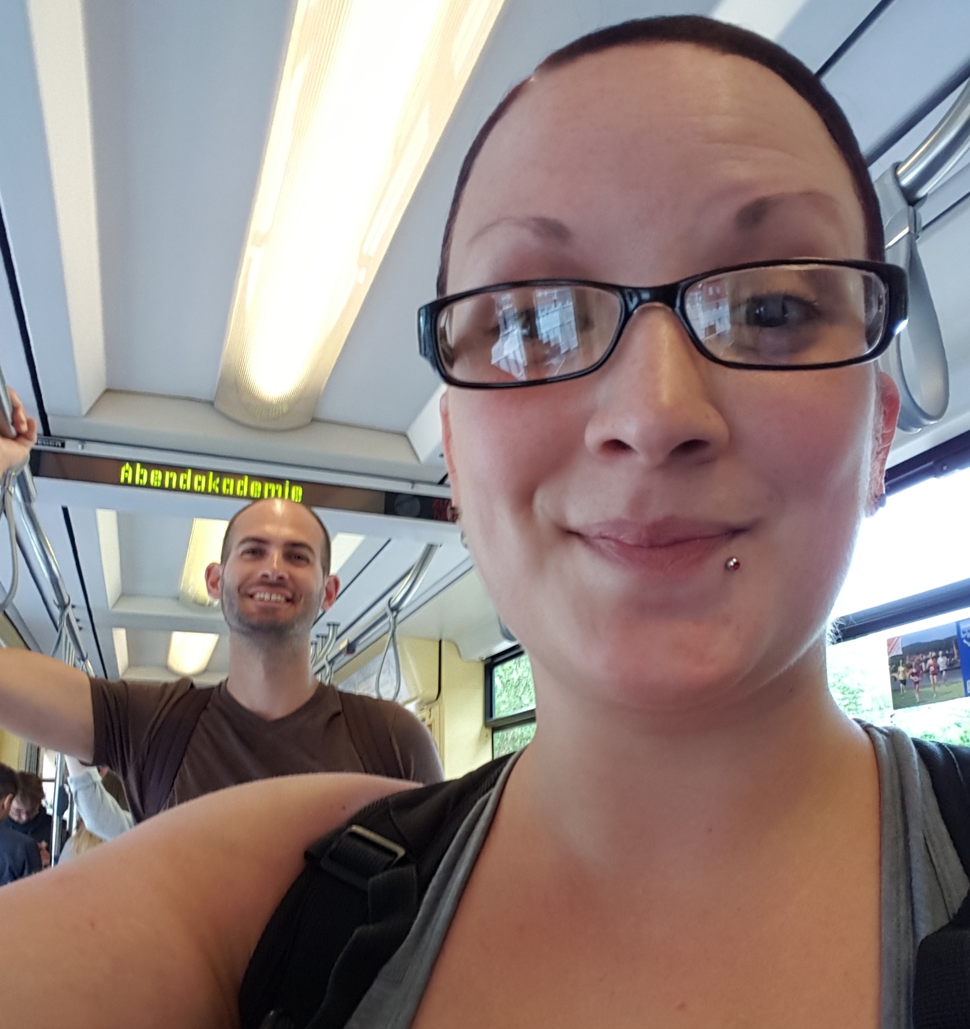 """My sister and I riding a tram in Heidelberg"""