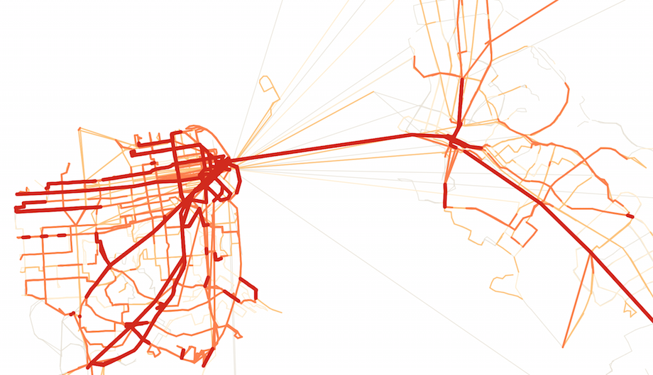 Visualizing frequent transit networks