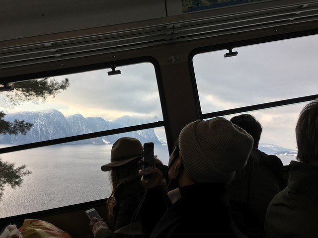 Steep journey up to Mount Rigi-Kulm from Vitznau looking over Lake Lucerne
